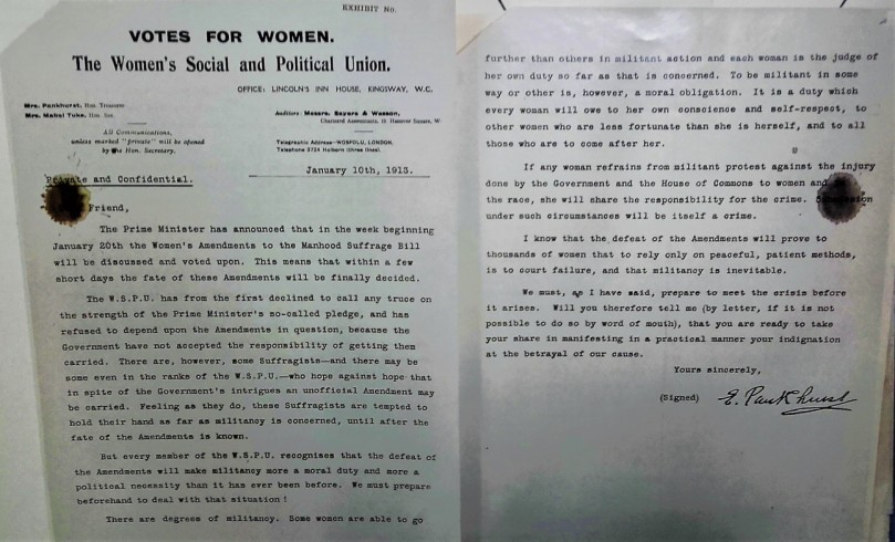 emmeline pankhurst letter tna